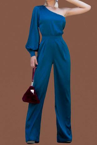 Sleek Chic Jumpsuit: Teal - Bella and Bloom Boutique