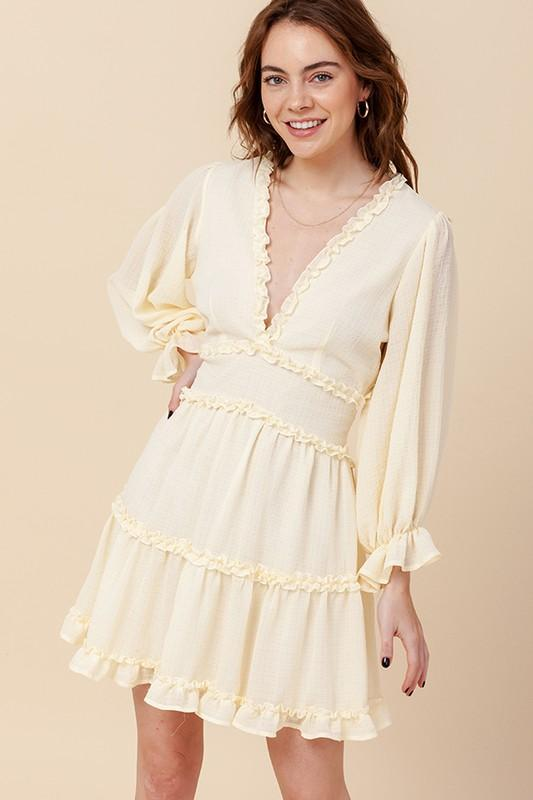 RESTOCK: Brinley Ruffle Dress: Pastel Yellow - Bella and Bloom Boutique