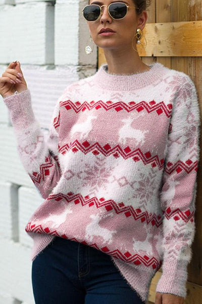 Christmas Crush Sweater: White/Pink - Bella and Bloom Boutique