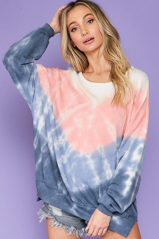 Way Back Tie-Dye Pullover: Navy/Pink - Bella and Bloom Boutique