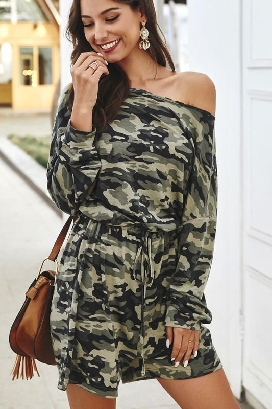 Camo Crush Romper: Camo - Bella and Bloom Boutique