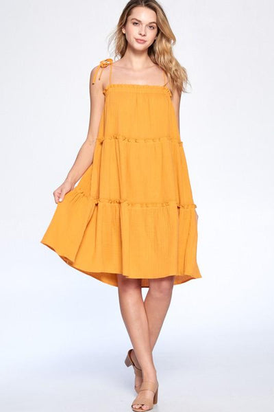 Summer Kiss Dress: Mustard - Bella and Bloom Boutique