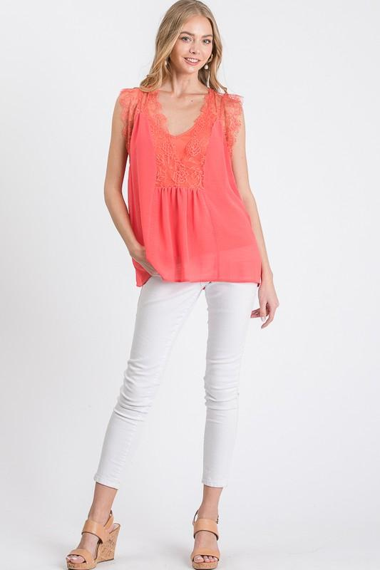 Essence of Beauty Top: Coral - Bella and Bloom Boutique