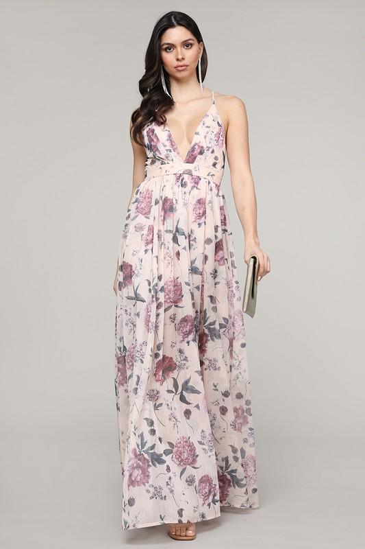 Everly Floral Maxi Dress: Blush - Bella and Bloom Boutique