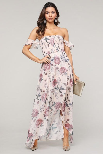 Floral Kiss Smocked Maxi Dress: Blush - Bella and Bloom Boutique
