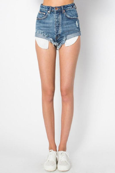 RESTOCK: Roll With It Denim Shorts: Dark Wash - Bella and Bloom Boutique