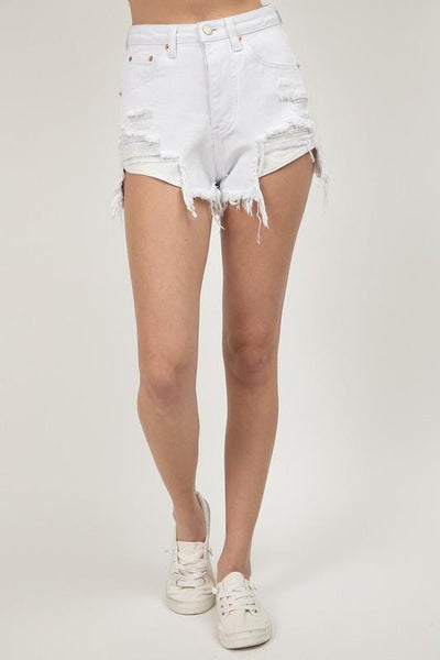 Good Life Distressed Denim Shorts: White - Bella and Bloom Boutique