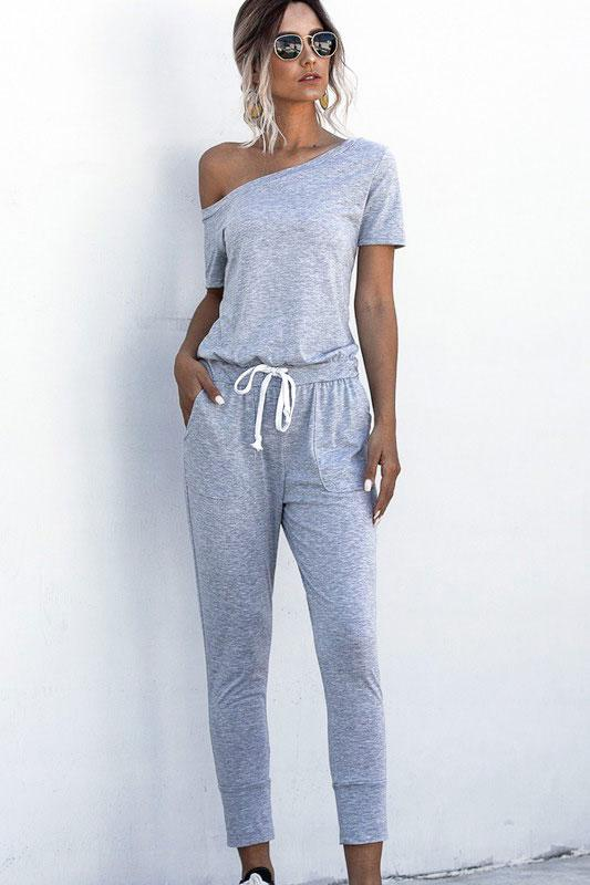 RESTOCK: Casual Babe Jumpsuit: Gray - Bella and Bloom Boutique