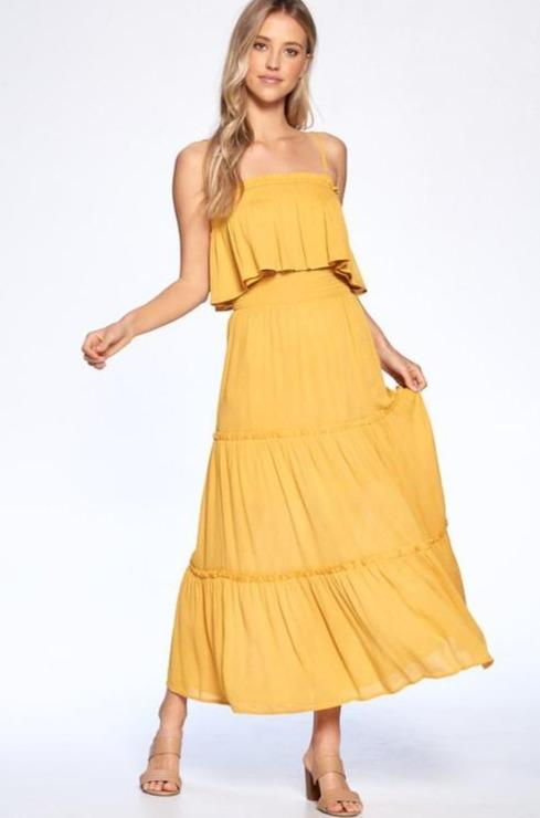 Walking on Sunshine Two Piece Set: Mustard - Bella and Bloom Boutique
