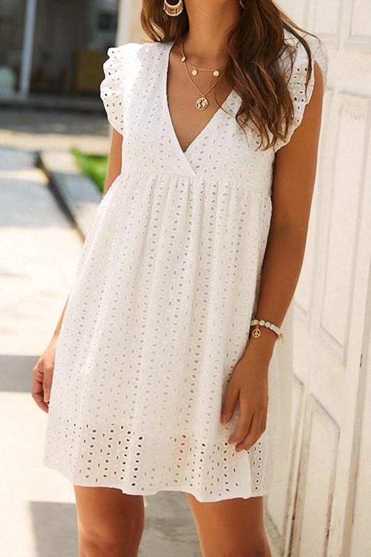 RESTOCK: Angel Above Eyelet Dress: White - Bella and Bloom Boutique