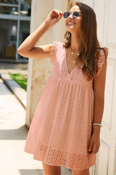 Angel Above Eyelet Dress: Peach - Bella and Bloom Boutique