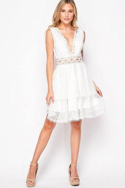 Shower With Love Lace Dress: White