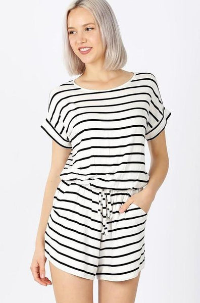 Classic Striped Romper: White/Black