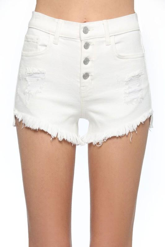 RESTOCK: Summertime Girl Denim Shorts: Ivory - Bella and Bloom Boutique