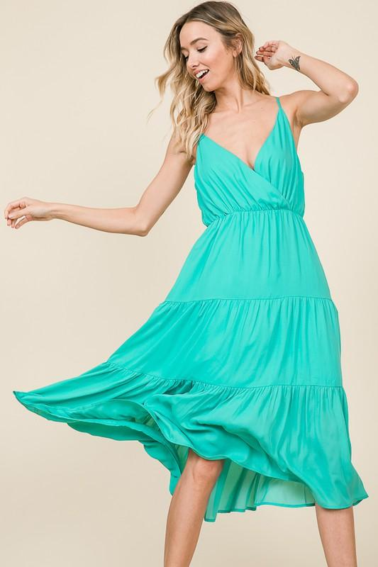 Go With the Flow Midi Dress: Mint - Bella and Bloom Boutique