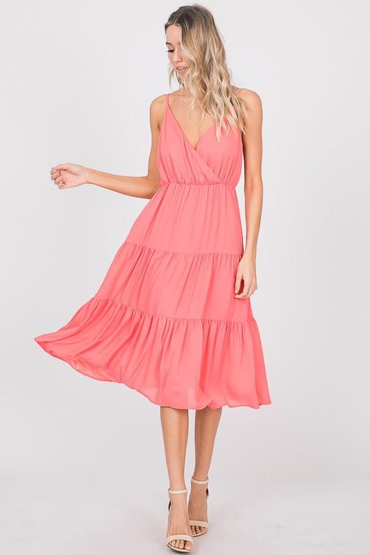 Go With the Flow Midi Dress: Coral - Bella and Bloom Boutique