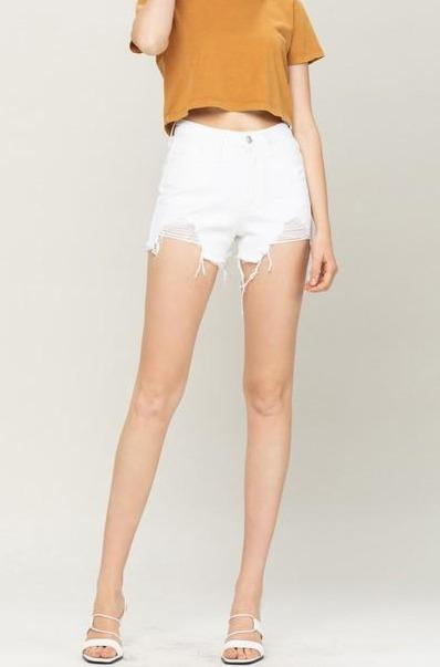 Comes Back Around Denim Shorts: White - Bella and Bloom Boutique