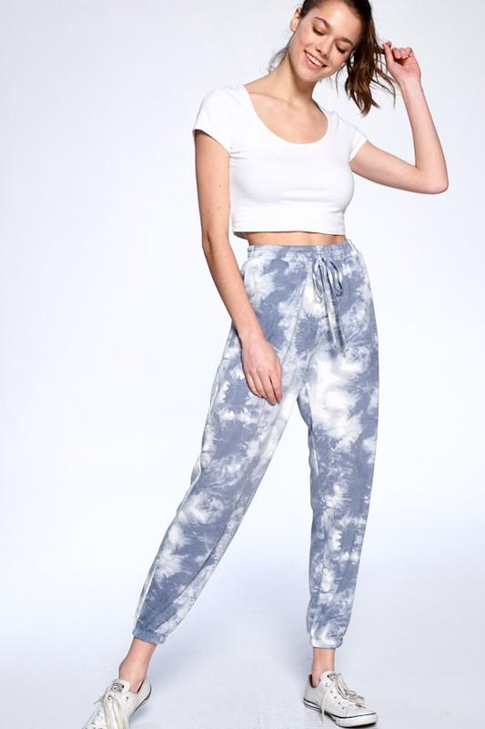 Tie Dye Joggers: Blue/White - Bella and Bloom Boutique