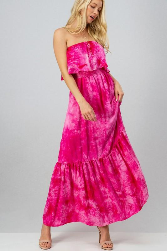 RESTOCK: Far Out Tie Dye Smocked Maxi Dress: Magenta - Bella and Bloom Boutique