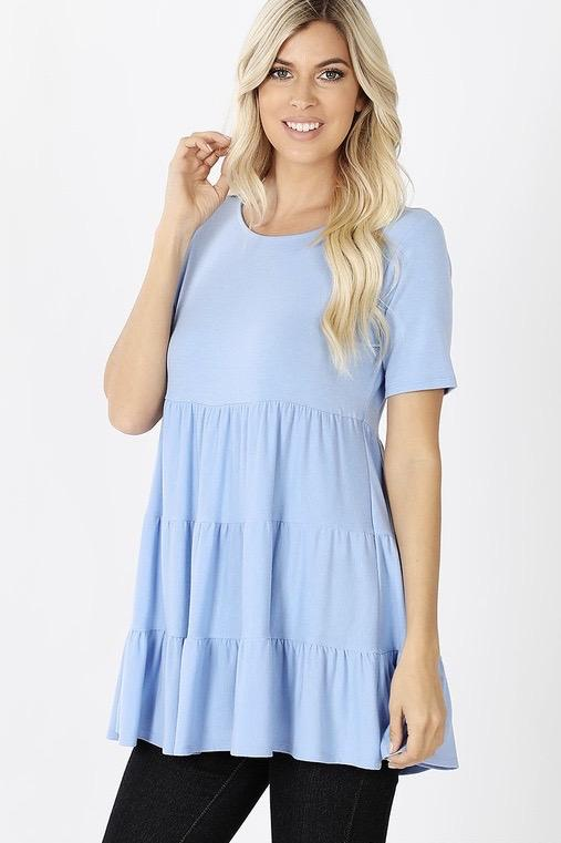 Jules Babydoll Top: Periwinkle - Bella and Bloom Boutique