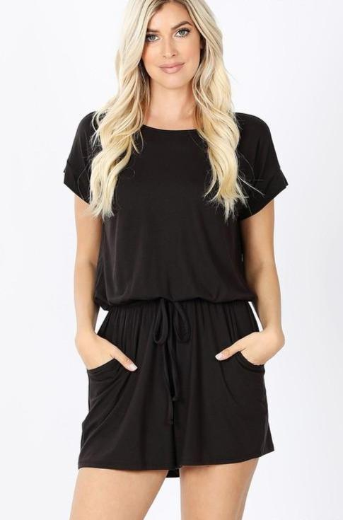 RESTOCK: Cozy Everyday Romper: Black - Bella and Bloom Boutique