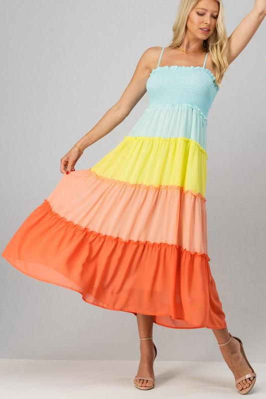 Rainbow Days Smocked Maxi: Multi - Bella and Bloom Boutique