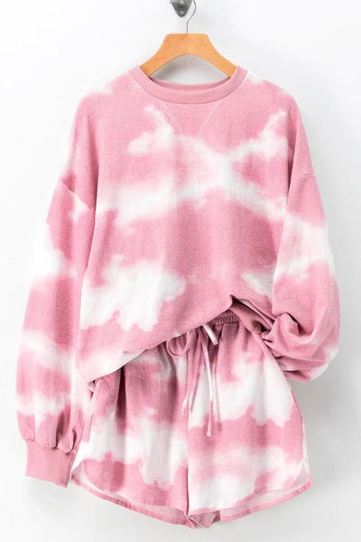 Cozy Vibes Tie Dye Set: Pink - Bella and Bloom Boutique