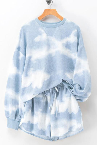 Cozy Vibes Tie Dye Set: Blue - Bella and Bloom Boutique