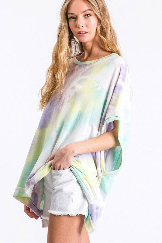 Happy With You Tie Dye Top: Lavender Multi - Bella and Bloom Boutique