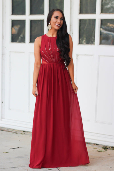 Sweet Holidays Maxi Dress: Deep Red - Bella and Bloom Boutique