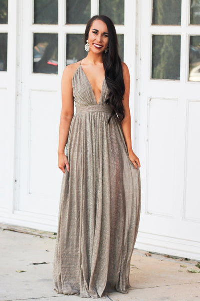 RESTOCK: All That Glitters Maxi Dress: Bronze/Gold - Bella and Bloom Boutique