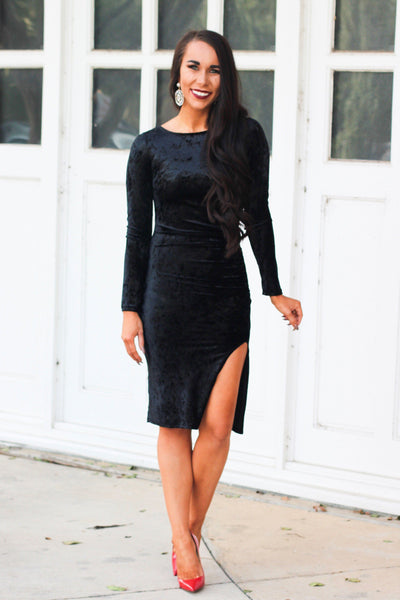 Caught My Eye Dress: Black - Bella and Bloom Boutique