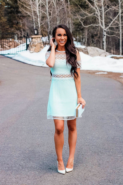 RESTOCK: Sweeter Than Fiction Dress: Mint/White - Bella and Bloom Boutique