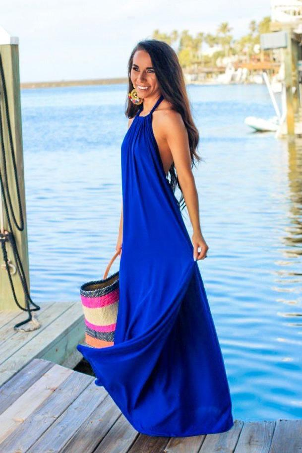 RESTOCK: Vacation Getaway Maxi Dress: Blue - Bella and Bloom Boutique