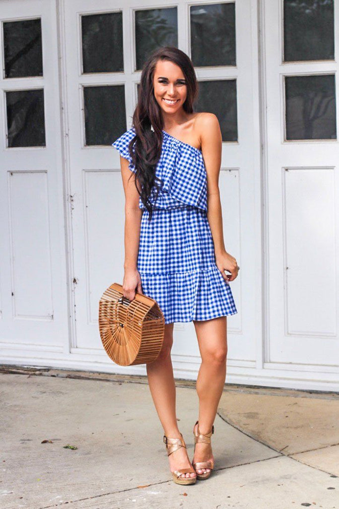 Gingham Gal Dress: Blue - Bella and Bloom Boutique