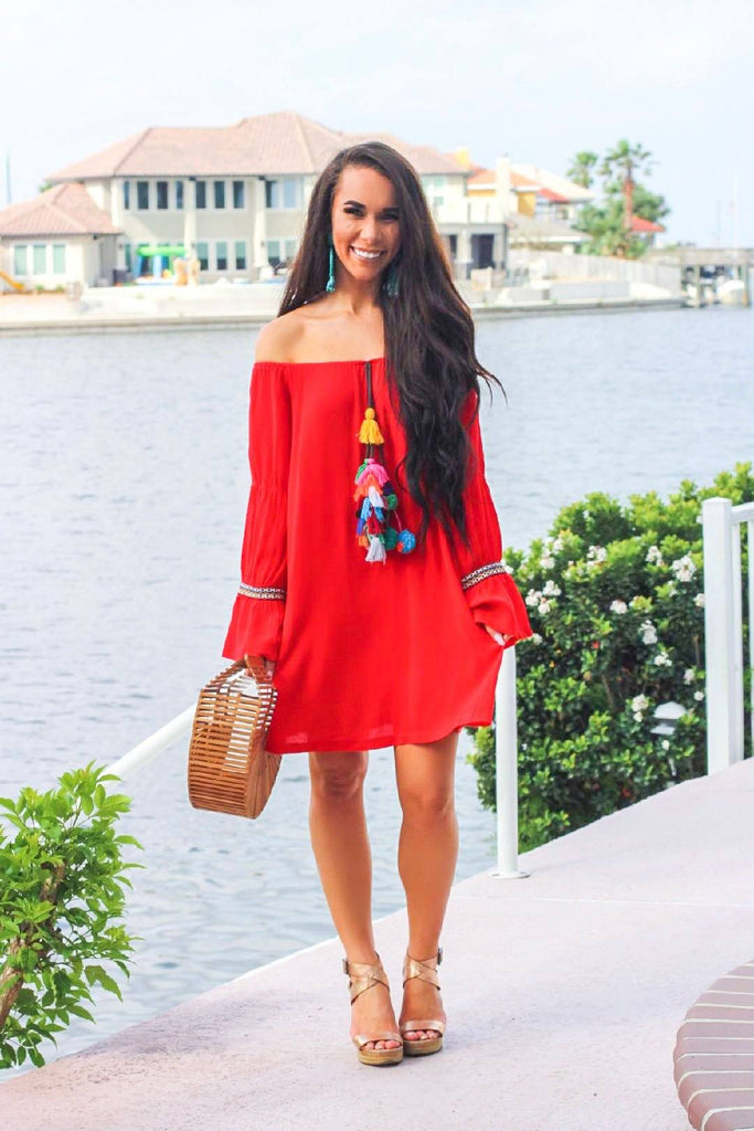 Vacation Babe Dress: Red