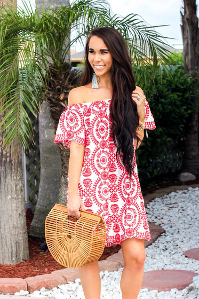 Beach Getaway Dress: Red/White