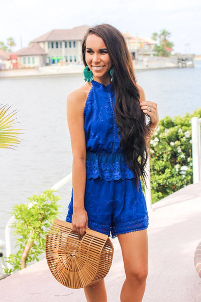 Half of My Heart Romper: Blue