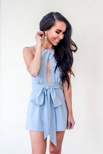 Sealed With a Bow Romper: Gray