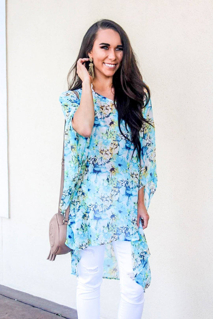 Summer Days Top: Blue Floral - Bella and Bloom Boutique