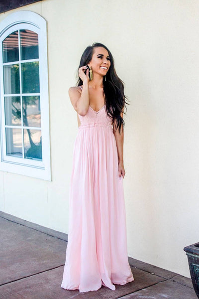 RESTOCK: Blushing Babe Maxi Dress: Blush - Bella and Bloom Boutique