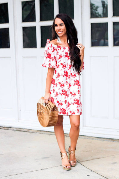 Freefalling Flowers Dress: Red/White