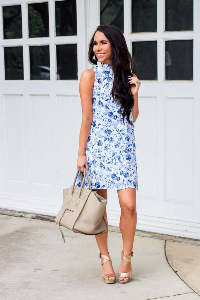 April Showers Dress: White/Blue - Bella and Bloom Boutique