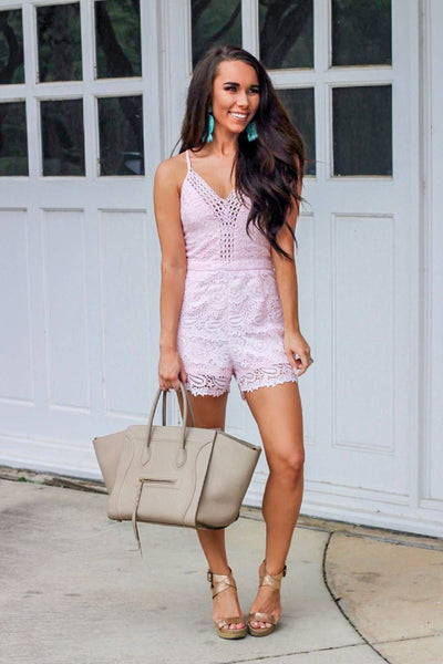 Sweet As Sugar Romper: Light Pink