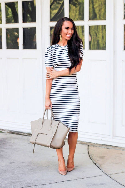 How He Loves Us Midi Dress: White/Navy