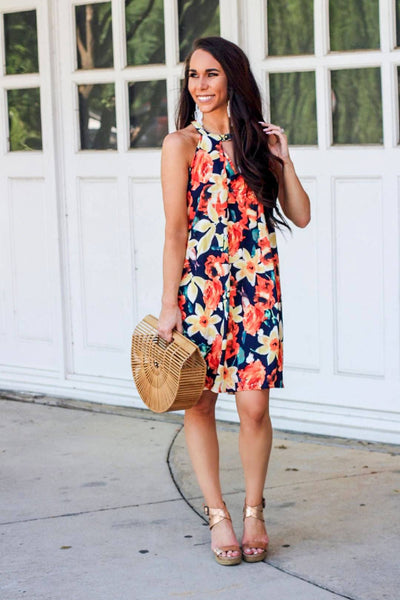Tropical Paradise Dress: Navy