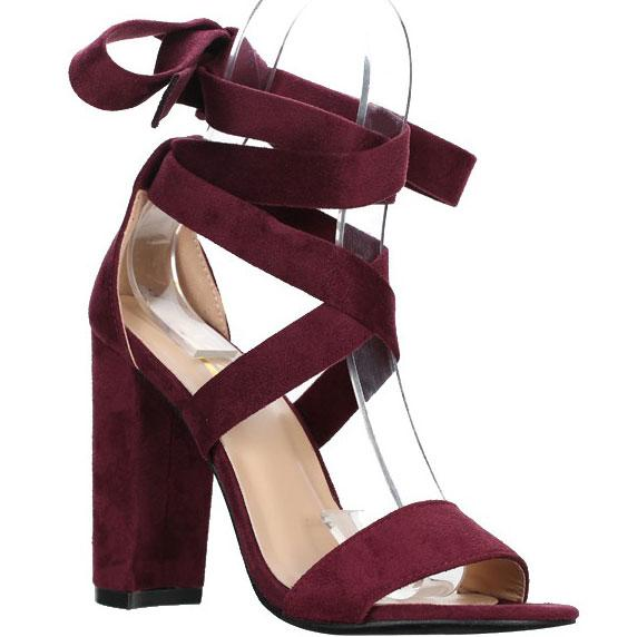 Juliette Lace Up Block Heels: Wine Suede - Bella and Bloom Boutique