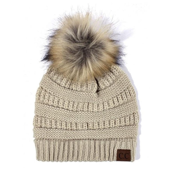 Cable Knit Beanie: Beige - Bella and Bloom Boutique