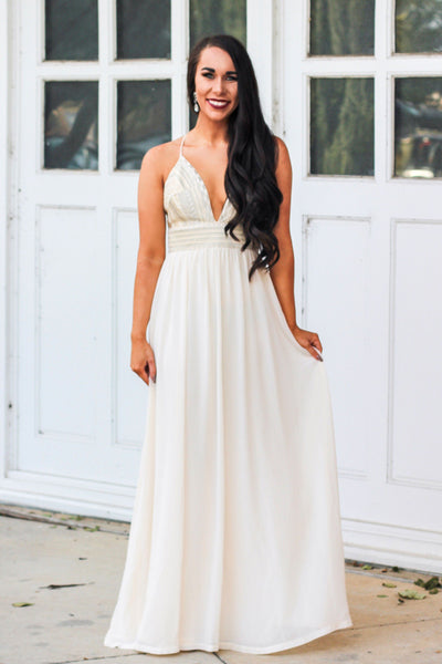 Champagne Occasion Maxi Dress: Champagne - Bella and Bloom Boutique