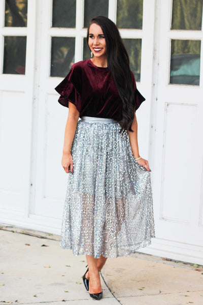 Light Up The Night Skirt: Silver - Bella and Bloom Boutique